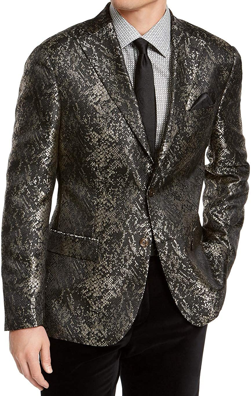Tallia Mens Suit Jacket Short Slim Snakeskin Jacquard Black 42
