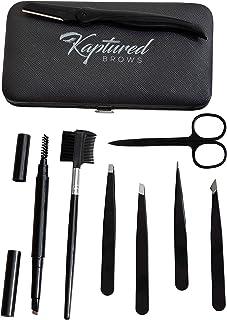 KAPTURED Eyebrow Kit, Professional 8 pc Eyebrow Grooming Kit for Women With Travel Case, Eyebrow Razor, Tweezers, Scissors, Eyebrow Comb and Brush, Brown Eyebrow Pen
