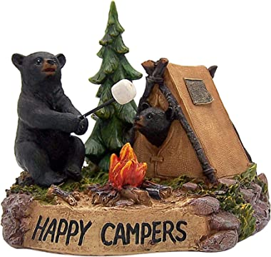 Happy Camper Figurine Featuring Two Black Bears Camping, 4 3/4 Inches