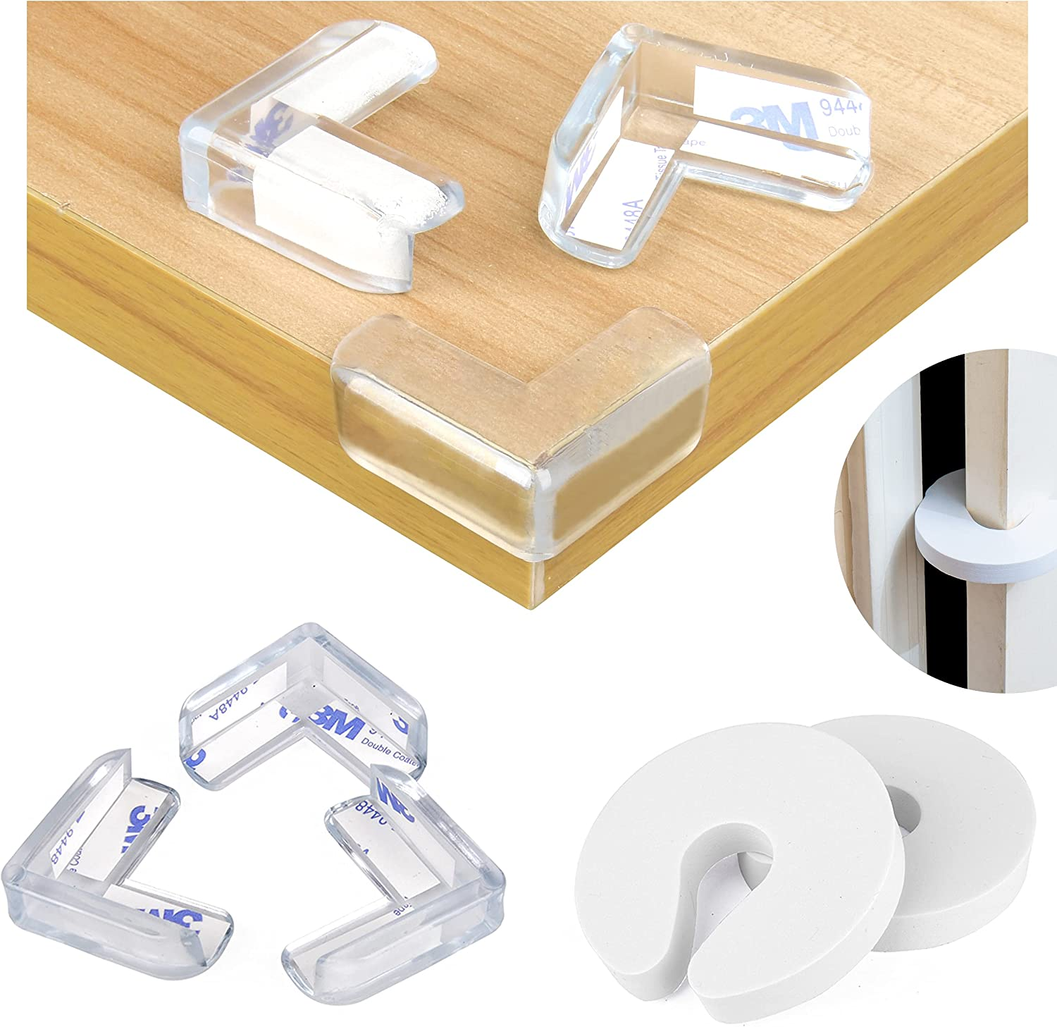 Dodo Babies Corner Protector Edge Guards, Set of 24 Table Corner Protectors for Baby – Transparent Furniture Bumpers Baby Proofing Corner Guards – Strong Glue – Includes 2 Door Slam Stopper Safety
