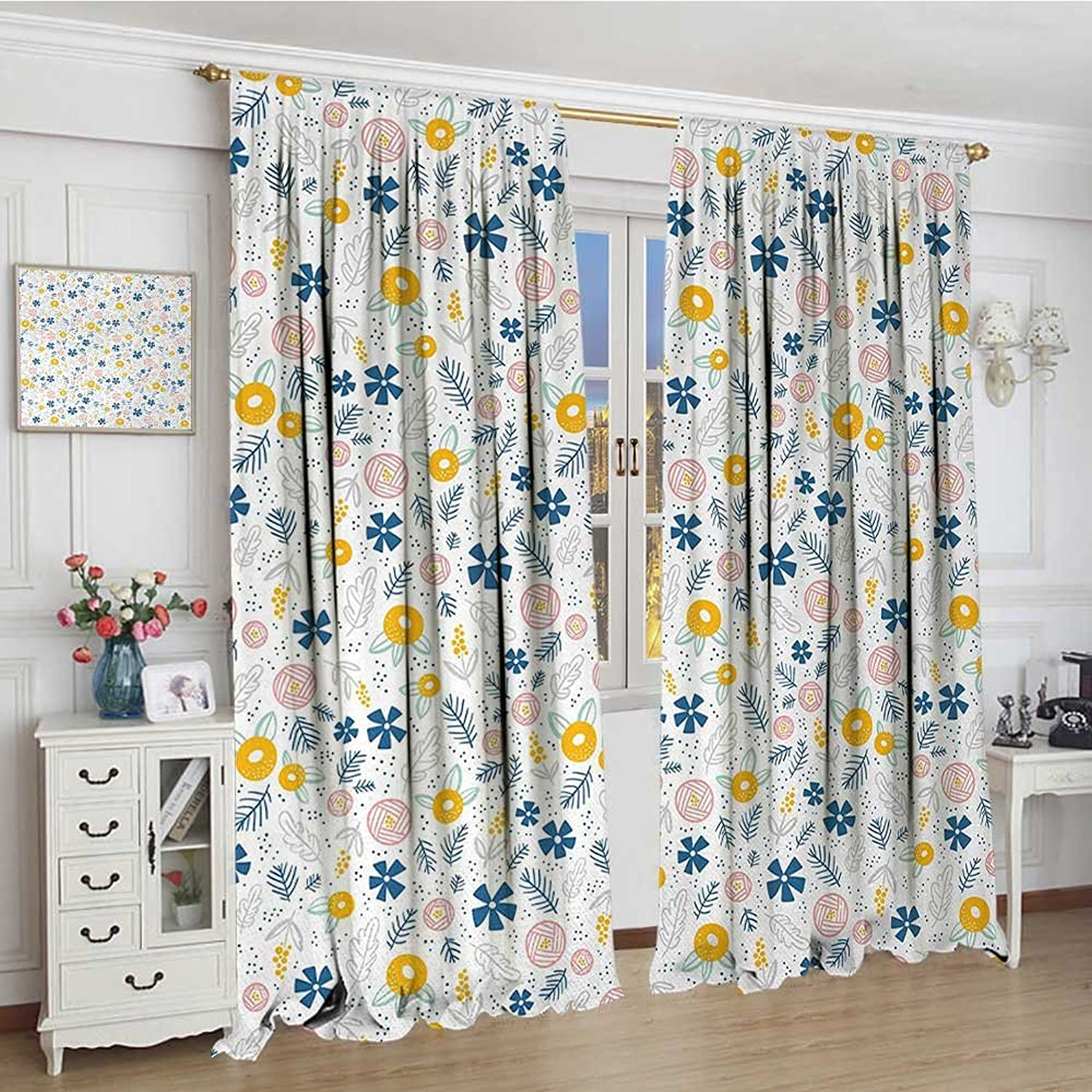 Smallbeefly Floral Widened Blackout Window Curtain Hand Drawn Style Herbs Illustration Leaves Little Blossoms Pastel colord Garden Waterproof Window Curtain 120 x72  Multicolor