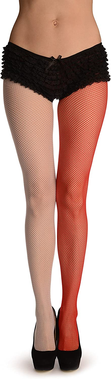 One Leg White & One Leg Red Fishnet - Red Pantyhose (Tights)