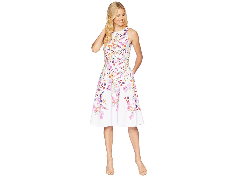 Tahari by ASL Floral Print Fit and Flare Dress (White/Azalea/Royal) Women