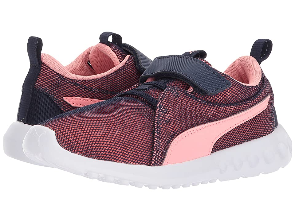 Puma Kids Carson 2 Breathe V (Little Kid) (Peacoat/Soft Fluo Peach) Girls Shoes