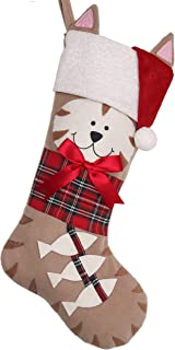 Valery Madelyn 21 inch Joyful Pet Christmas Stockings Personalized Hanging Cat with Fish and Christmas Hats (Pet Collection)
