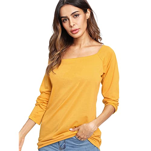 7c5bbcd15ada ROMWE Women's Raw Cut Off the Shoulder Long Sleeve Tee Shirt Top Blouse