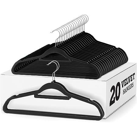 Premium Velvet Hangers with Tie Bar 20-Pack Slim Space Saving Coat Hanger, Non Slip Wardrobe Hangers, Clothes Hangers 360° Swivel Hook, Suit, Shirt Dress & Trouser Hangers - Thin Flocked Felt Hangers
