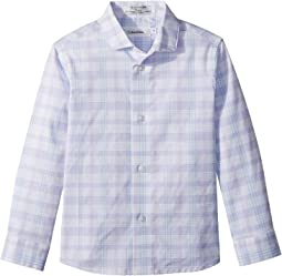Calvin Klein Kids Roadmap Plaid Long Sleeve Shirt (Little Kids)