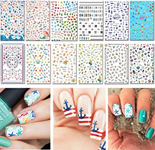 TailaiMei Summer Nail Decals Stickers, 1500+ Pcs Self-Adhesive Tips DIY Nail Art Design..