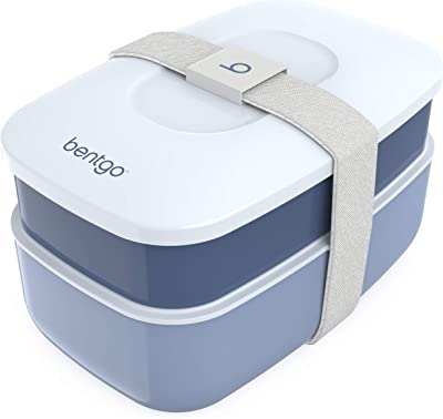 Bentgo Classic - All-in-One Stackable Bento Lunch Box Container - Modern Bento-Style Design Includes 2 Stackable Containers, Built-in Plastic Utensil Set, and Nylon Sealing Strap (Slate)