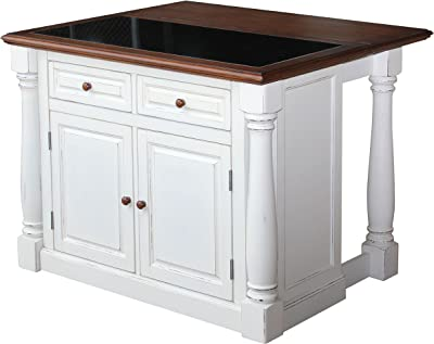 Superb Amazon Com Americana Antique White Kitchen Island By Home Pdpeps Interior Chair Design Pdpepsorg