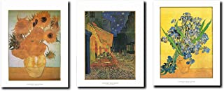 Impact Posters Gallery Wall Decor Vincent Van Gogh Sunflower Cafe Terrace Picture at Night Three Set 22x28 Vase of Irises Art Print Poster