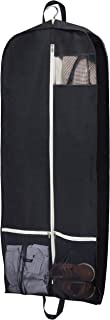 """Sleeping Lamb Breathable Garment Bag 54"""" Dress Suit Cover with 2 Large Mesh Pockets, Black"""