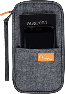 DOKEHOM Travel Wallet Passport Holder Cover, RFID Document Organizer with Hand Strap