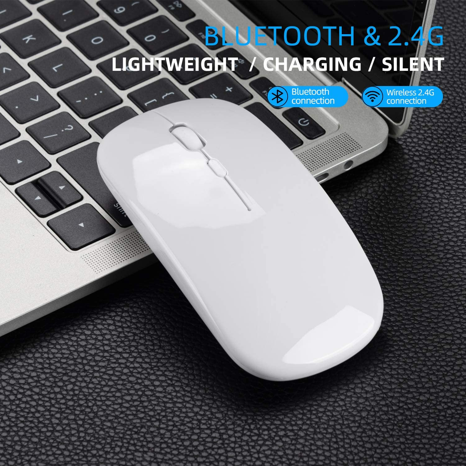 Alician Dual Mode Bluetooth 4.0 2.4G Wireless Mute Computer Mouse for PC Laptop Rose Gold