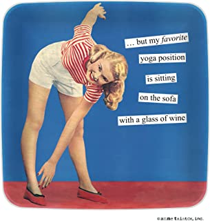 Anne Taintor Melamine Mini Serving Tray Plate - But My Favorite Yoga Position Is Sitting On The Sofa With A Glass Of Wine