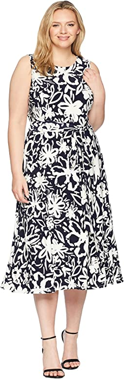 Plus Size B551 Coastal Floral Feliana Sleeveless Day Dress