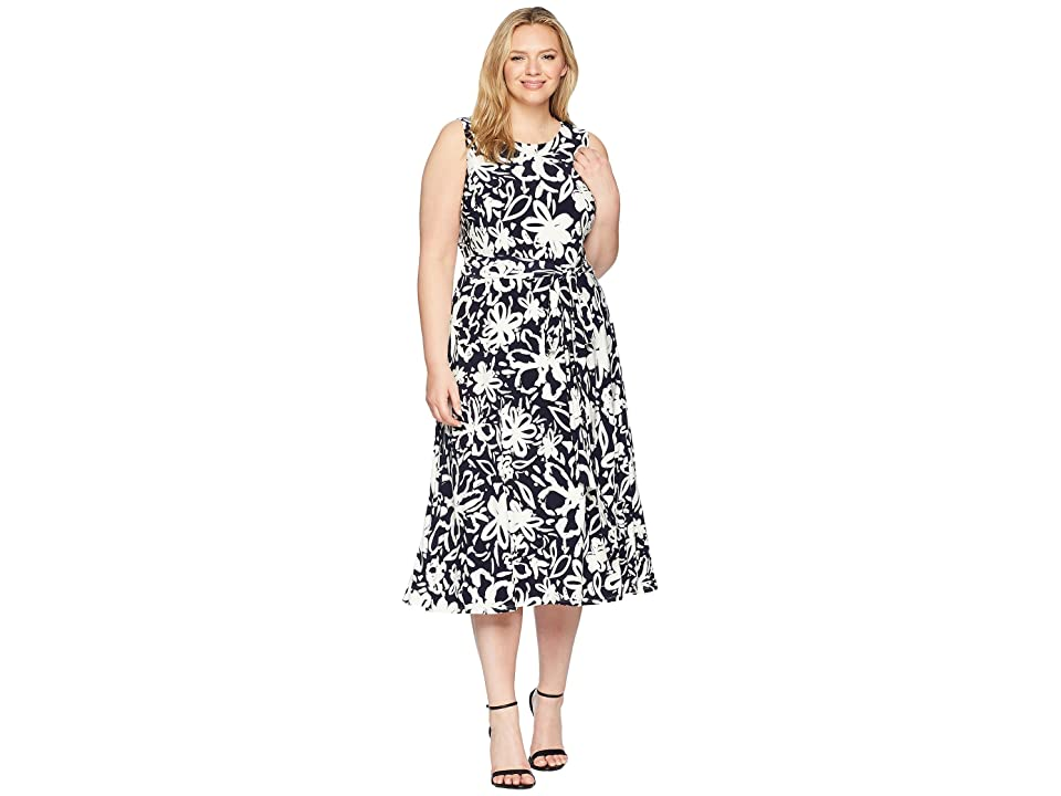 LAUREN Ralph Lauren Plus Size B551 Coastal Floral Feliana Sleeveless Day Dress (Lighthouse Navy/Colonial Cream) Women