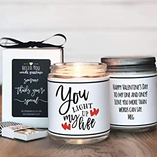 You Light Up My Life Candle Gift, Valentine's Day Gift, Valentine's Day Candle, Soy Candle Gift, Scented Soy Candle, Personalized Candle, Personalized Gift