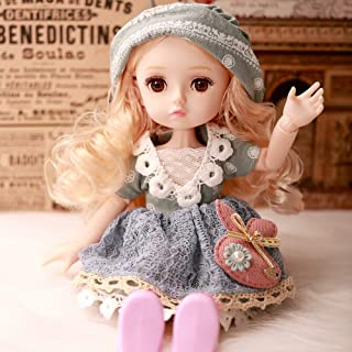 CLEVER BOYS BJD Girl Doll with Different Motion, 10-Inch with Silky Hair and Makeup Face, Wearing Exquisite Clothes and Sh...