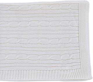 Berkshire Blanket Scottish Cable Knit Throw Blanket, Cream
