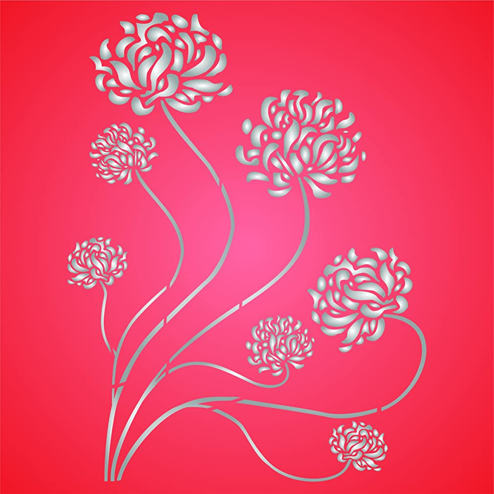 Oriental Mums Stencil - 13 x 17 inch (L) - Reusable Asian Chrysanthemum Wall Stencils for Painting - Use on Paper Projects Scrapbook Journal Walls Floor Fabric Furniture Glass Wood etc.