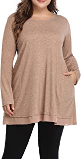 Women's Flowy Plus Size Tunic Shirts Long Loose Fit Tops for Leggings