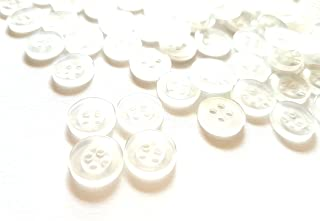 100 pcs Clear White Shirt Buttons 4 Holes Size 11mm