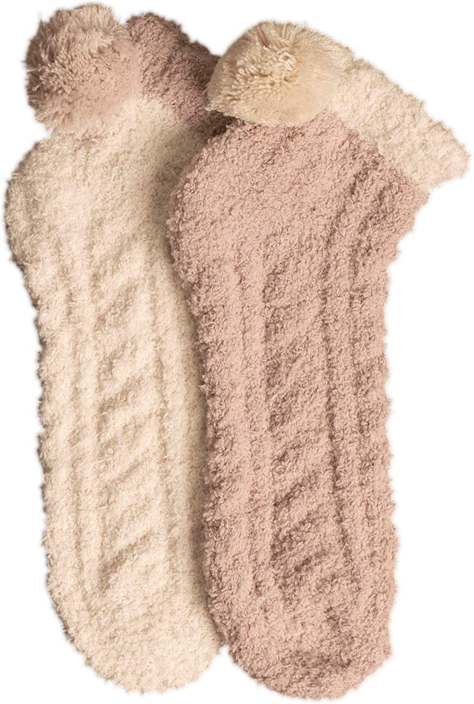 LEMON womens 2-pack Cable Pom Foam No Show Socks