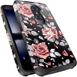 ZTE Imperial Max Z963U Case,ZTE Blade Max 3 Z986 / Zmax Pro Z981 / Max XL N9560 / Carry Case, Miss Arts Slim Anti-Scratch Kit [Drop Protection] Dual Layer Cover Case for ZTE Z981 -Rose Gold Flower