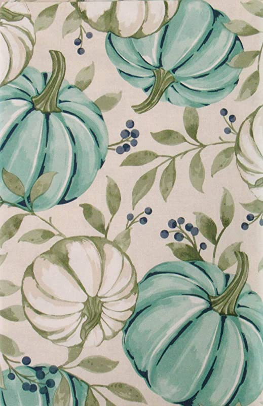 Autumn Pumpkins Vines And Berries Vinyl Flannel Back Tablecloth Blue Pumpkins 52 X 52 Square