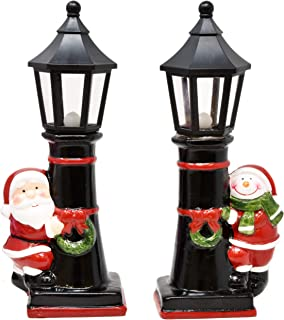 """Led Light Up Christmas Lanterns 9"""" Table Top Centerpiece Decorations Set of 2 Black Street Light Pillar Pole with Snowman & Santa Lighted Holiday Ornament Decor for Indoor Outdoor Porch Patio & Home"""