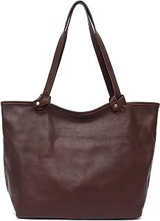 STEPHIECATH Women Bags Vintage Italian Cow Leather Shoulder Bag Large Tote Luxury Real Skin Female Handbag&Liner Bag (BROWN)