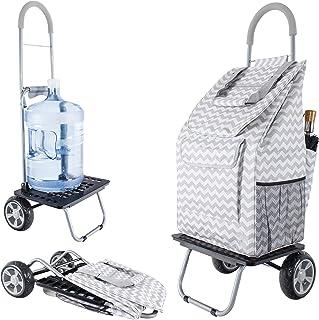dbest products Bigger Trolley Dolly, Grey Chevron Shopping G