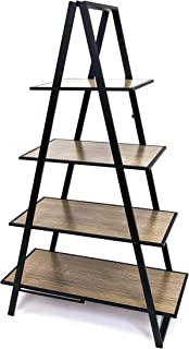 Origami Fully assembled 4 tier Foldable Decorative Rack, A Frame Wooden Ladder Bookcase, Display Shelves for photos, Books, Home Office Deco Rack Storage, Haznut