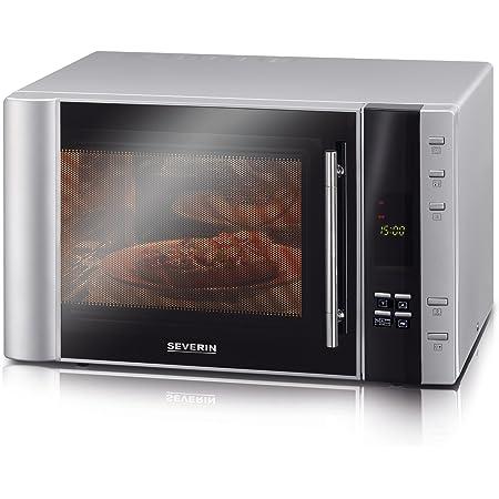 SEVERIN Four Micro-ondes, Gril, Chaleur tournante 2 500W, 30L, 5 niveaux de puissance, Affichage numérique, Inox/noir, MW 7825