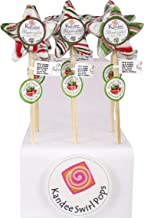 Kandee Swirl Pops Starz Watermelon Twist - Pack of 6 Natural Colour Candy Lollipop