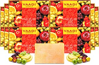 Vaadi Herbals Fruit Splash Soap with Extracts of Orange, Peach, Green Apple and Lemon, 75g (Pack of 12)