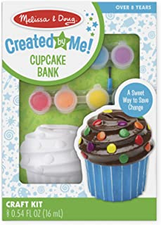 Melissa & Doug Decorate-Your-Own Cupcake Bank Craft Kit With 8 Pots of Paint and Paintbrush