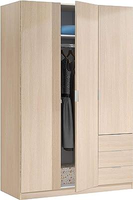 Habitdesign Armario Ropero de Tres Puertas y Tres Cajones, Acabado en Color Roble, Medidas: 121 cm (Ancho) x 180 cm (Alto) x 52 cm (Fondo)