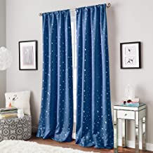 Curtainworks Starry Night Room Darkening Rod Pocket Window Curtain Single Panel, 63-inch, Blue