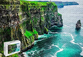 300 Piece Jigsaw Puzzle - Cliffs of Moher County Clare Burren Ireland Cartoon Large Size Wooden 20.6 X 15.1 Inch