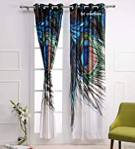 b7 CREATIONS Digital Print Peacock Feathers Knitting Eyelet Door Curtain (46x82 Inches/4x7 ft, White)