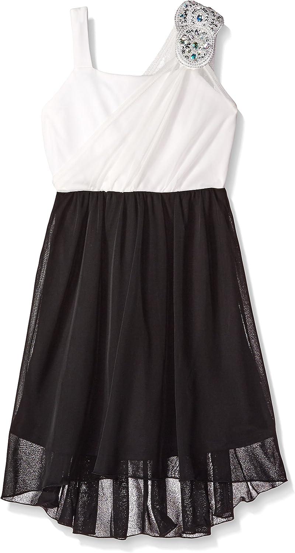 Amy Byer Girls' Big Sleeveless Grecian Dress with Stone Trim