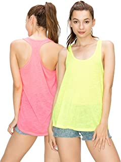 EttelLut Workout Neon Racerback Tank Tops-Yoga Sports Activewear Cute for Women