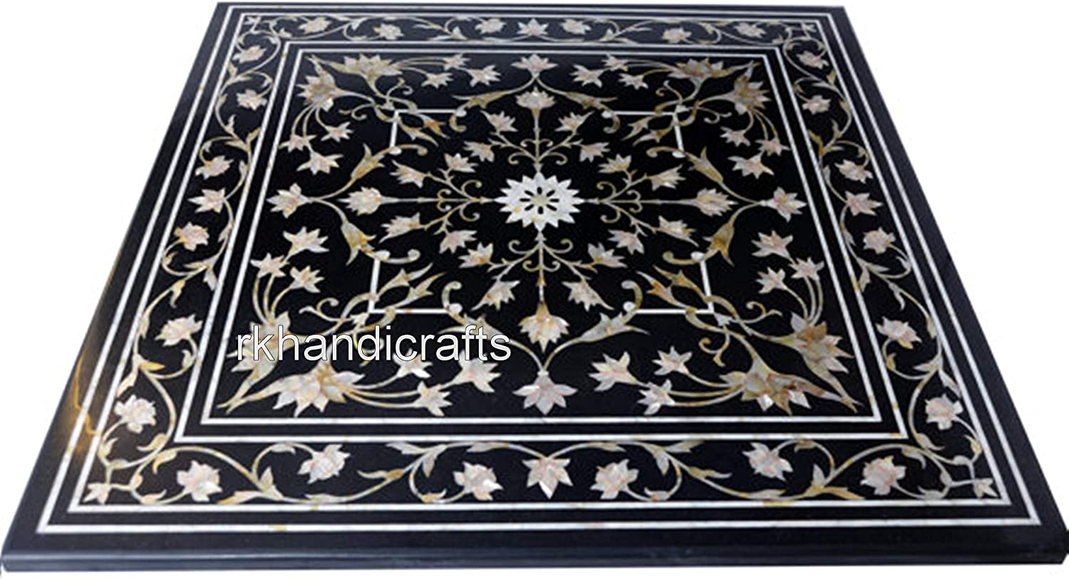 Cheap sale 30 Inches Black Marble Coffee Table Stones Precious Quality inspection Top Inl Semi