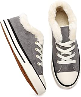 Women's Fashion Sneakers Low Cut Fur Lined Suede Shoes...