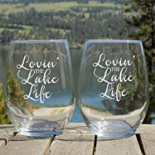 Lake House Decor, Lake Life Etched Wine Glasses Set of 2 Lake House Decorations for Home