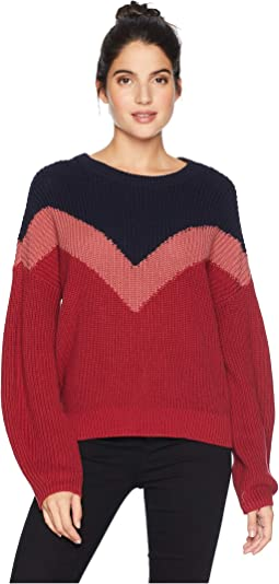 Chevron Front Crew Neck Sweater