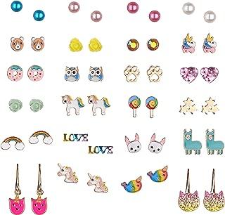 30 Pairs Cute Unicorn Animal Earrings, Hypoallergenic Earrings Set for Kids, Girls Colorful Cute Stud Earrings
